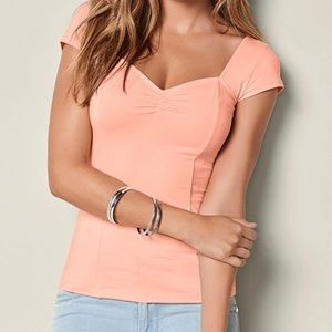 Peach Cap Sleeve Top